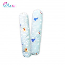 Gracekids Pooh Lets Fly a kite Bolster Cover, Size M (blue) (15*23)