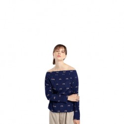 QueenCows เสื้อให้นม : Milada Printed Long Sleeve (Navy)