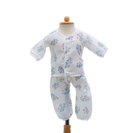 Shawn's Baby Long sleeved shirt with trousers Blue Cartoon Giraffe Pattern