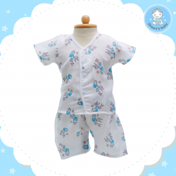 Shawn's Baby Short Shirt with Short Pants Giraffe Cartoon Blue (size M)