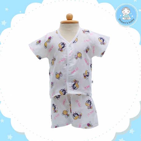 Shawn's Baby Short Shirt with Short Pants Bee Cartoon Pink (size M)